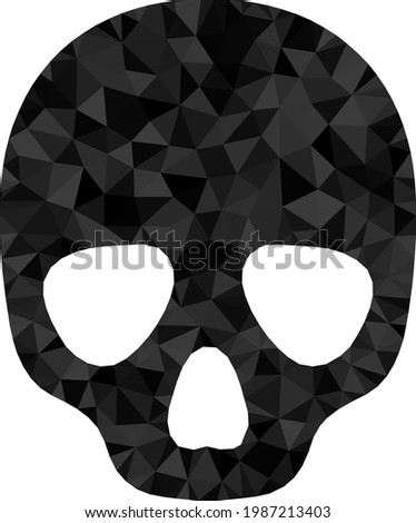 Low-poly skull designed from scattered filled triangles. Triangle skull polygonal icon illustration. Skull icon is filled with triangles. Flat geometric 2d modeling illustration based on skull icon.