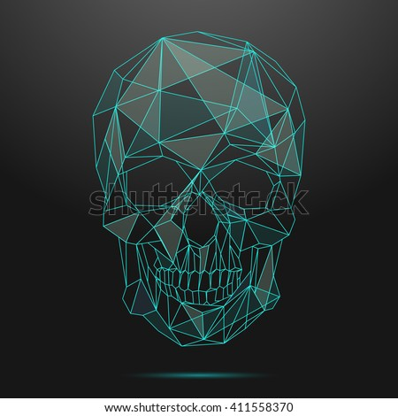 low poly skull thin line