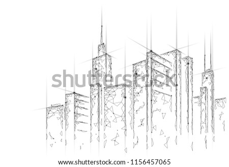 Low poly smart city 3D wire mesh. Intelligent building automation system business concept. Web online computer networking. Architecture urban cityscape technology sketch banner vector illustration