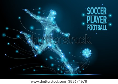 Low poly soccer player hits the ball in motion. Polygonal footballer. Abstract polygonal blue football player. Thin line vector
