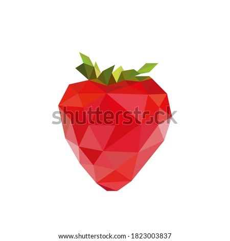 low poly strawberry images. Polygonal berry fruit logo vector illustration. Сток-фото ©