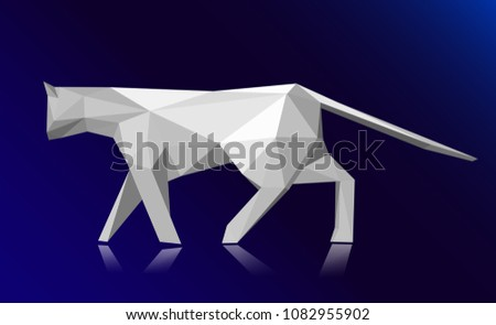 Stock Photo Low poly style cat, modern polygonal design, origami cat, 3d illustration