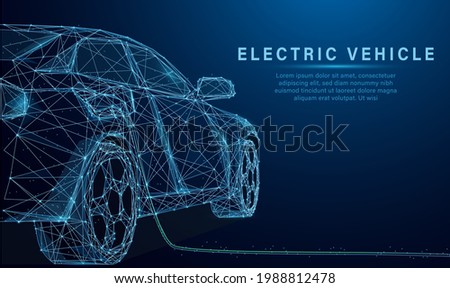 Low poly style design vector of EV Car or Electric vehicle at charging station with the power cable supply plugged Eco-friendly sustainable energy concept. Wireframe light connection structure.