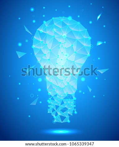Stock Photo low poly style light bulb, blue background, vector illustration
