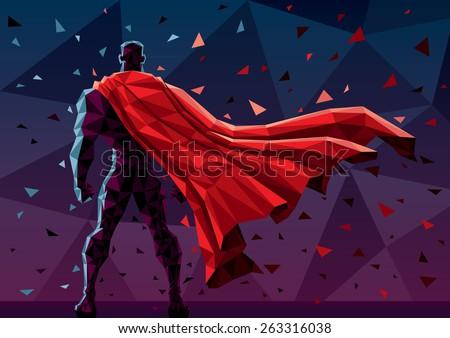 low poly superhero background