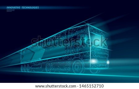 Low poly transport abstract truck. Lorry van fast delivery shipping logistic. Polygonal dark blue speed highway industry international transportation traffic vector illustration
