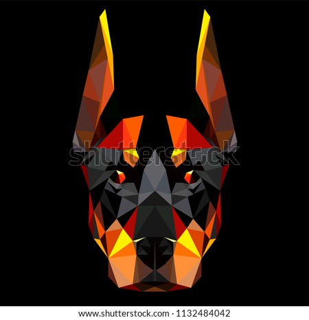 low poly triangular angry dog