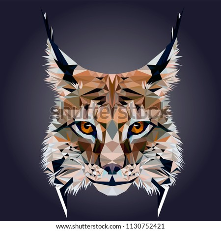 Low poly triangular lynx (bobcat) face on dark background, symmetrical vector illustration EPS 10 isolated.  Polygonal style trendy modern logo design. Suitable for printing on a t-shirt.