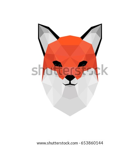 Low poly vector animal illustration. Polygonal fox graphic design