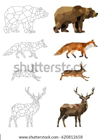 Low poly vector animals set: (bear, fox, hare, deer) on a transparent background. Abstract polygonal geometric illustration. Set of outline animals. Set of polygonal animals icons, logo.