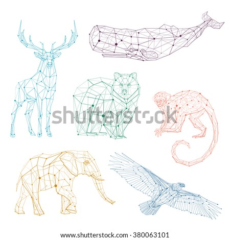 Low Poly Vector Animals Set Stylized Linear Wire Construction Abstract Polygonal Geometric Illustration