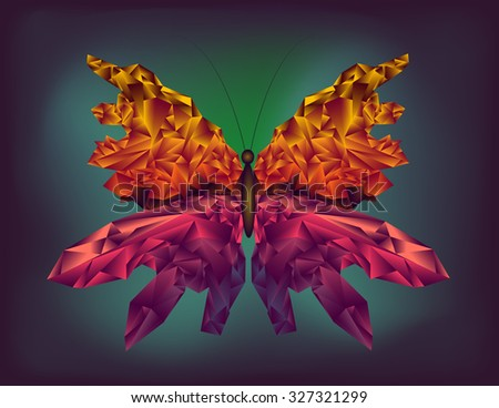 low poly vector butterfly with