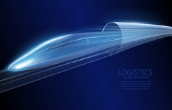 Low poly vector illustration of 3d hyper loop concept, on dark blue background, future symbol, logistics, transportation and, travel, progress and development of engineering and technology.