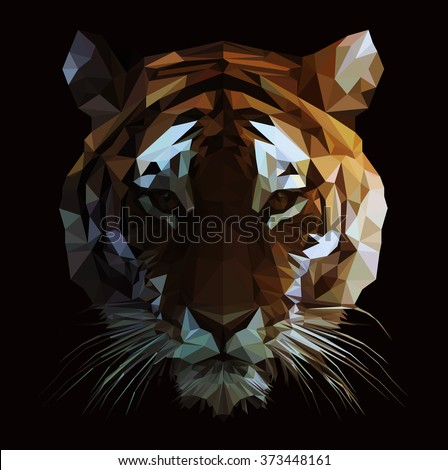 low poly vector tiger