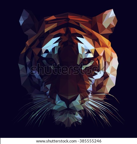 low poly vector tiger