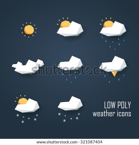 low poly weather icons set