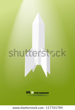 low poly white rocket on the green background eps 10