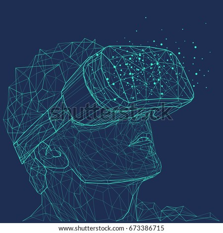 Low poly wire outline geometric illustration. Virtual reality glasses. Connection abstract vector structure