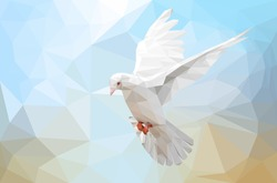 Low poly with White Dove flying  on sky and international day of peace 2016