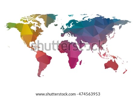 low poly world map colorful #474563953