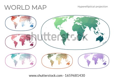 Low Poly World Map Set. Waldo R. Tobler's hyperelliptical projection. Collection of the world maps in geometric style. Vector illustration. Stock fotó ©