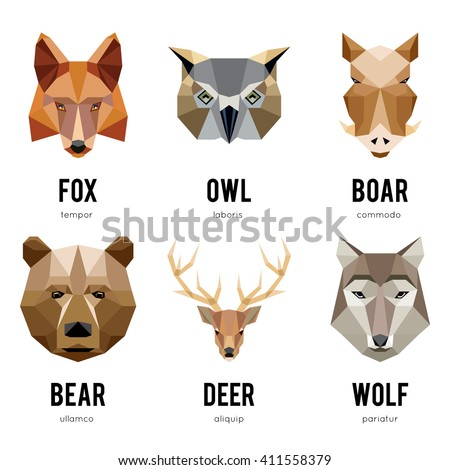 Low polygon animal logos. Triangular geometric set. Bear, deer, fox, boar and wolf. Vector illustration