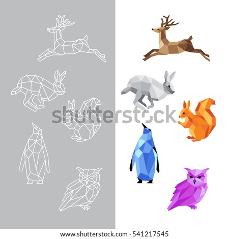 low polygon animals triangular