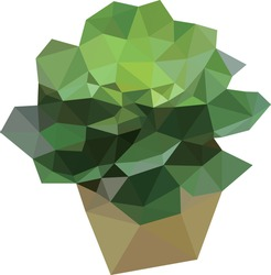 Low polygon geometry plant pot. Low poly style vector. Low poly design.