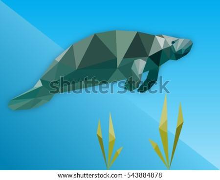 low polygon manatee