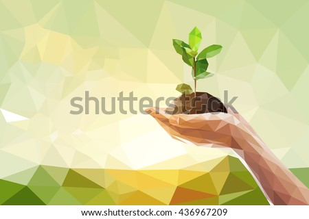 Low polygon of two Hand holding young plant on green nature blur bokeh background