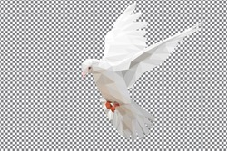 Low polygon of White Dove on chessboard background for edit design and international day of peace 2016