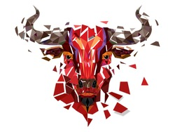 Low polygon Red bull head with geometric pattern- Vector illustration