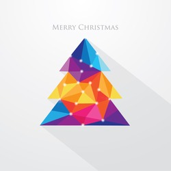 Low polygon style vibrant multicolored christmas tree vector illustration. Abstract triangular polygonal design