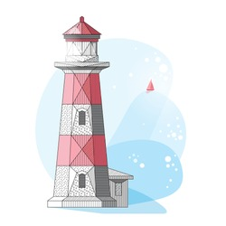 Low polygonal abstract lighthouse. Vector illustration in geometric style. Good for summer poster design
