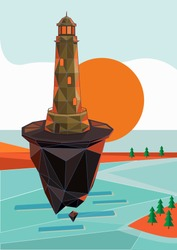 Low polygonal geometric lighthouse and island. Vector illustration.