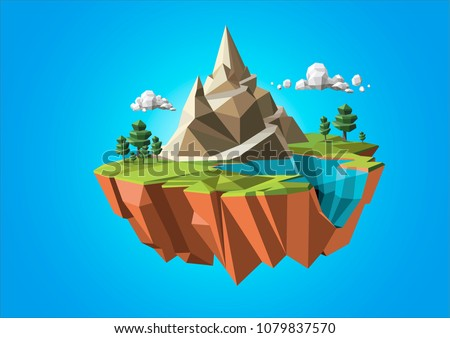 Low polygonal geometric trees and island. Abstract vector Illustration, low poly style. Stylized design element. Background design for banner, poster, flyer, cover, brochure.