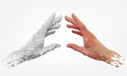 Low polygonal hands, human and robot arms, partnership of people and robots, computer graphics