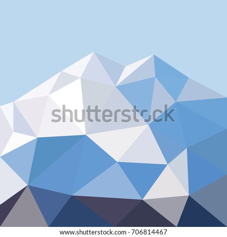 Stock Photo Low polygonal mountain in triangle style. Low polygonal background for mountain design and web