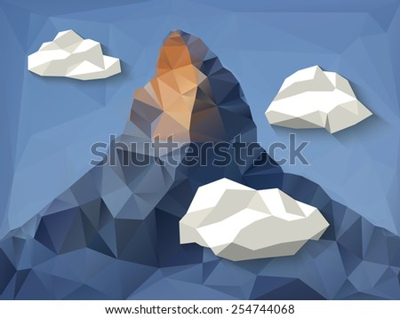 low polygonal shape mountain