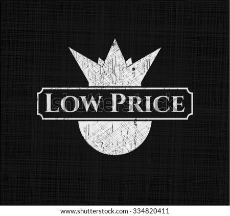Low Price chalkboard emblem written on a blackboard