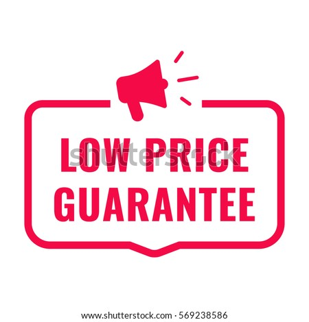 Low price guarantee. Badge with megaphone icon. Flat vector illustration on white background.
