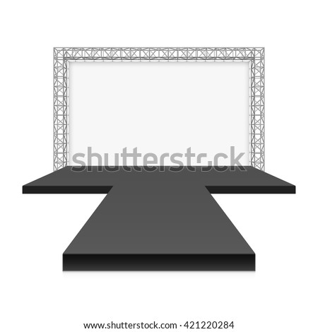 Shutterstock Low Stage with banner, metal truss system vector illustration