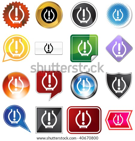 Low tire pressure icon set isolated on a white background.