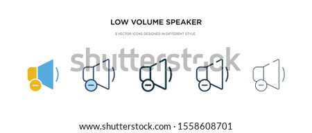 low volume speaker icon in different style vector illustration. two colored and black low volume speaker vector icons designed in filled, outline, line and stroke style can be used for web, mobile,