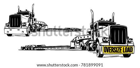Lowboy Trailer. vector illustration