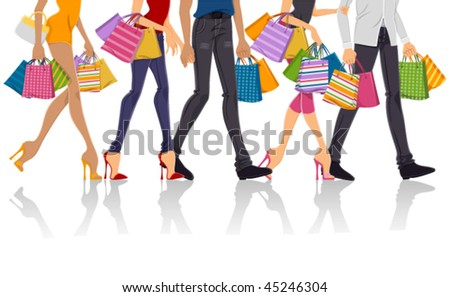 Lower Body of People Shopping - Vector