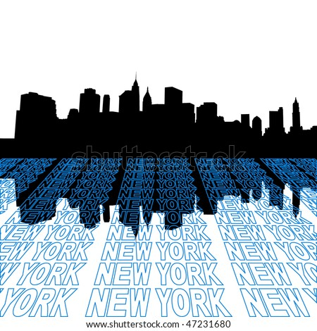 new york city skyline outline. skyline with perspective
