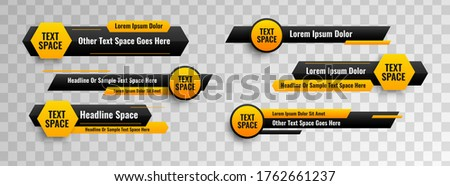 Lower third design template circle & hexagonal geometric style. Vector video headline title or television news bar design isolated on transparent background.