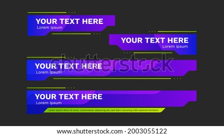 lower third pack with modern colorful. Vector video headline title or television news bar design template isolated on white background.