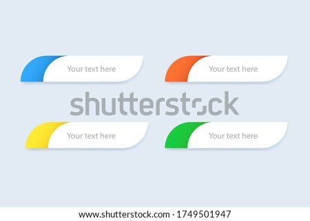 Lower third template. TV header mockup. Round box for television news. Green, blue, yellow and orange lowerthird. Sport news template with text. Isolated media mockup box. Vector EPS 10 Сток-фото ©